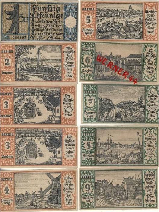 Städte Notgeldscheine - Banknoten während der Inflationszeit v. 1921 Berlin 20x50 Pfg.