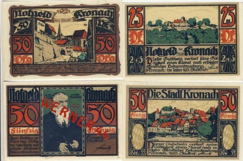 Städte Notgeldscheine - Banknoten während der Inflationszeit v. 1921 Kronach 5,3x50  Pfg.