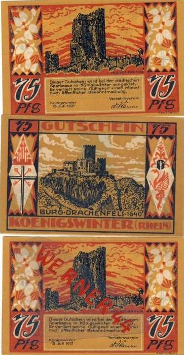 Städte Notgeldscheine - Banknoten während der Inflationszeit v. 1921 Königswinter 3x75  Pfg.