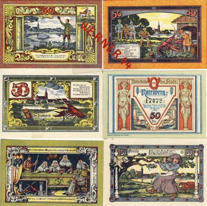 Städte Notgeldscheine - Banknoten während der Inflationszeit v. 1921 Nörenberg 6x50 Pfg.