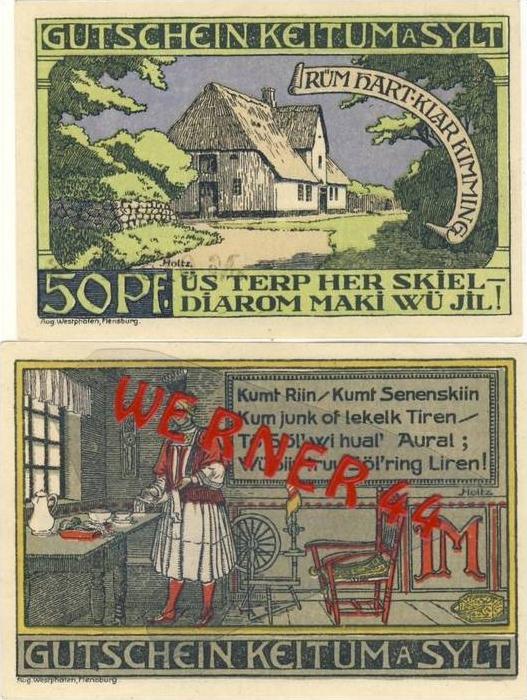 Städte Notgeldscheine - Banknoten während der Inflationszeit v. 1920 Keitum 50 Pfg.+ 1 Mark