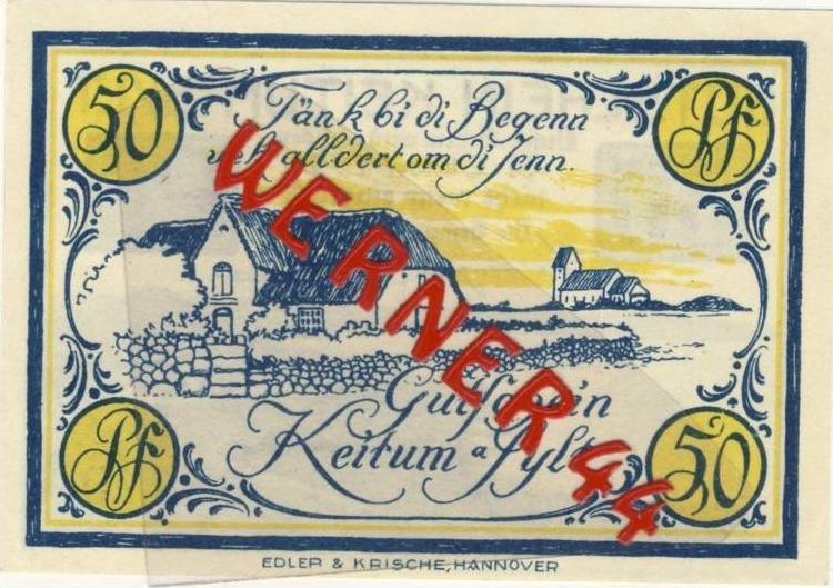 Städte Notgeldscheine - Banknoten während der Inflationszeit v. 1921 Keitum 50 Pfg.