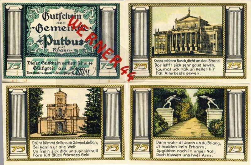 Städte Notgeldscheine - Banknoten während der Inflationszeit v. 1921 Putbus 4x75 Pfg.