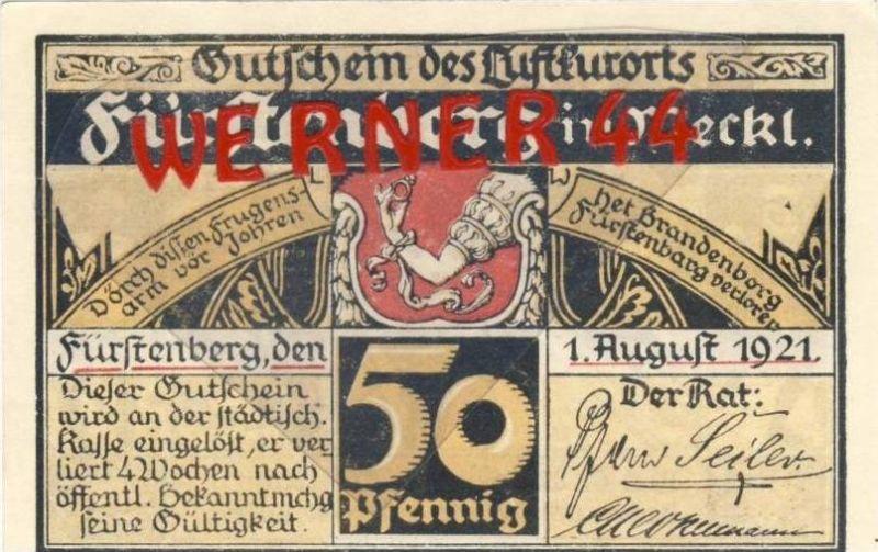 Städte Notgeldscheine - Banknoten während der Inflationszeit v. 1921 Fürstenberg 50 Pfg.