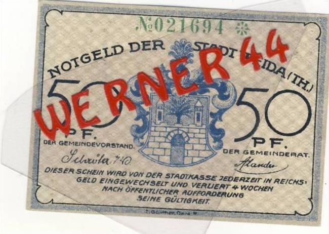 Städte Notgeldscheine - Banknoten während der Inflationszeit v. 1921 Weida 50 Pfg.