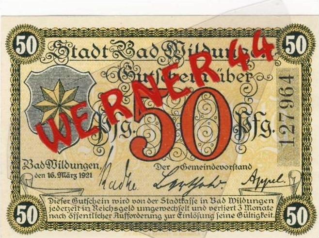 Städte Notgeldscheine - Banknoten während der Inflationszeit v. 1921 Bad Wildungen 50 Pfg.
