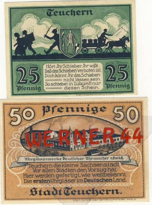 Städte Notgeldscheine - Banknoten während der Inflationszeit v. 1921 Teuchern 25,50 Pfg.