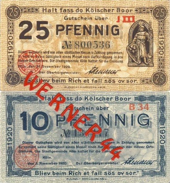 Städte Notgeldscheine - Banknoten während der Inflationszeit v. 1920 Köln 10,25 Pfg.