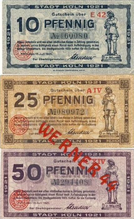 Städte Notgeldscheine - Banknoten während der Inflationszeit v. 1921 Köln 10,25,50 Pfg.