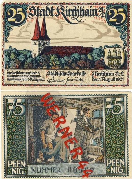 Städte Notgeldscheine - Banknoten während der Inflationszeit v. 1921 Kirchhain 25,75 Pfg.