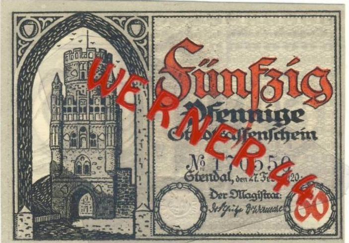 Städte Notgeldscheine - Banknoten während der Inflationszeit v. 1920 Stendal 50 Pfg.