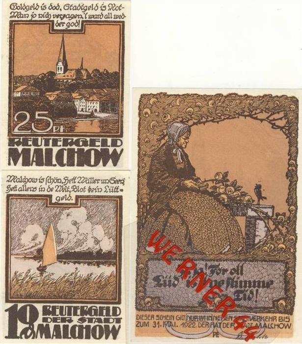 Städte Notgeldscheine - Banknoten während der Inflationszeit v. 1921 Malchow 10,25,50 Pfg.