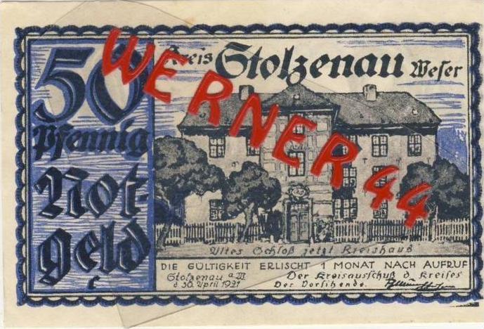 Städte Notgeldscheine - Banknoten während der Inflationszeit v. 1921 Stolzenau 50 Pfg.