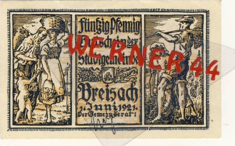 Städte Notgeldscheine - Banknoten während der Inflationszeit v. 1921 Breisach 50 Pfg.