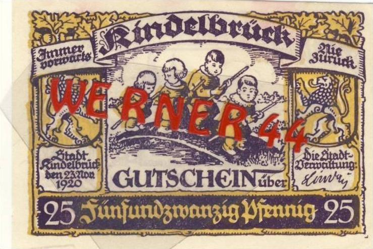 Städte Notgeldscheine - Banknoten während der Inflationszeit v. 1921 Kindelbrück 25 Pfg.