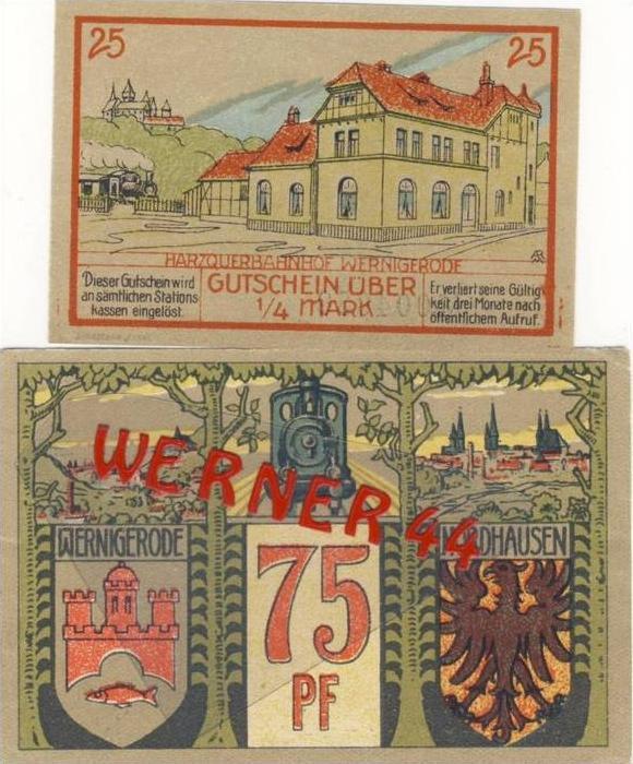 Städte Notgeldscheine - Banknoten während der Inflationszeit v. 1921 Nordhausen 25,75, Pfg.