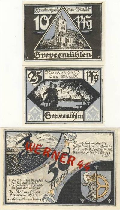 Städte Notgeldscheine - Banknoten während der Inflationszeit v. 1921 Grevesmühlen 10,25,50 Pfg.