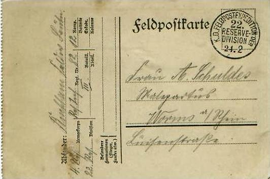 Feldpostkarte mit Feldpoststempel von 24.2.1915 - siehe Foto !!  (24587)