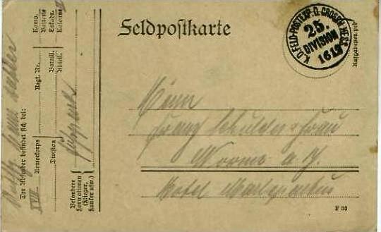 Feldpostkarte mit Feldpoststempel von 15.12.1914 - siehe Foto !!  (24588)