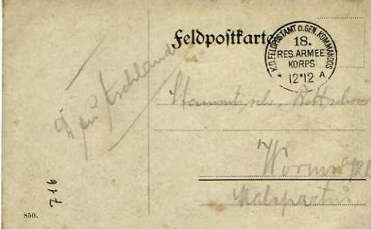 Feldpostkarte mit Feldpoststempel von 12.12.1914 - siehe Foto !!  (24590)