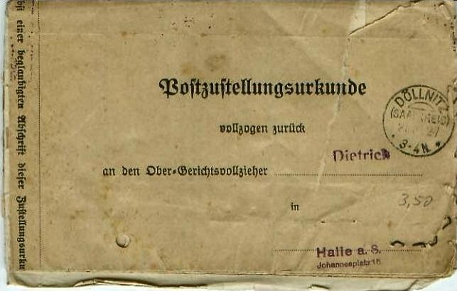 Döllnitz v. 1927  Postzustellungsurkunde-Ober Gerichtsvollzieher  (24599-10)