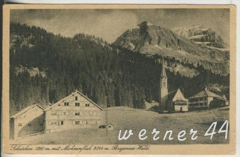 Schröcken v.1927 Dorfansicht mit Mohnenfleh im Bregener Wald  (11940)