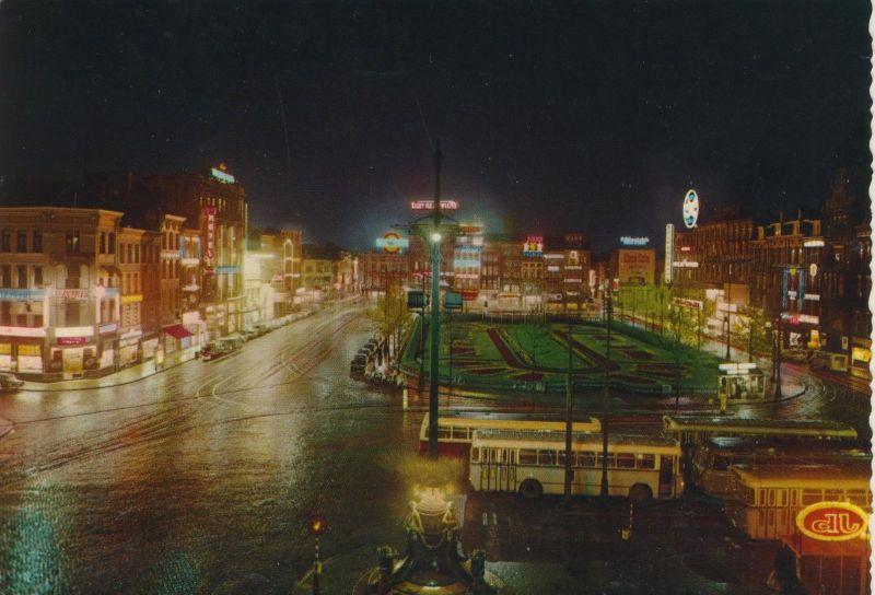 Antwerpen v. 1967  Königin Astrid Platz bei Nacht (55113)