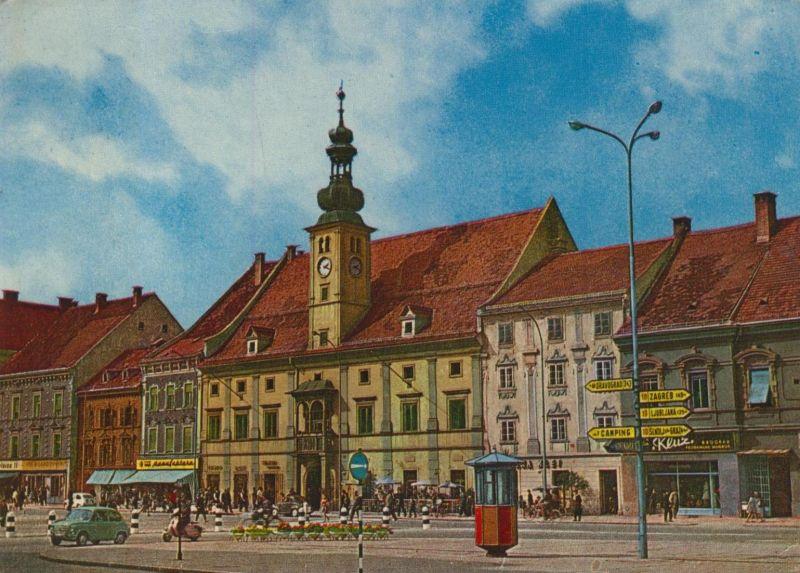 Maribor v. 1976  Innenstadt mit Geschäfte (55117)