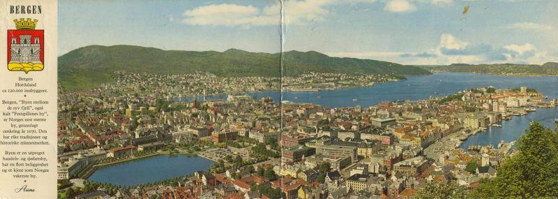Bergen v. 1965  Total-Stadt-Ansicht  (Klappkarte)  (55123)