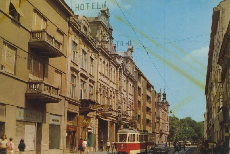 Osijek v. 1978  Stadtansicht mit Hotel  (55191)