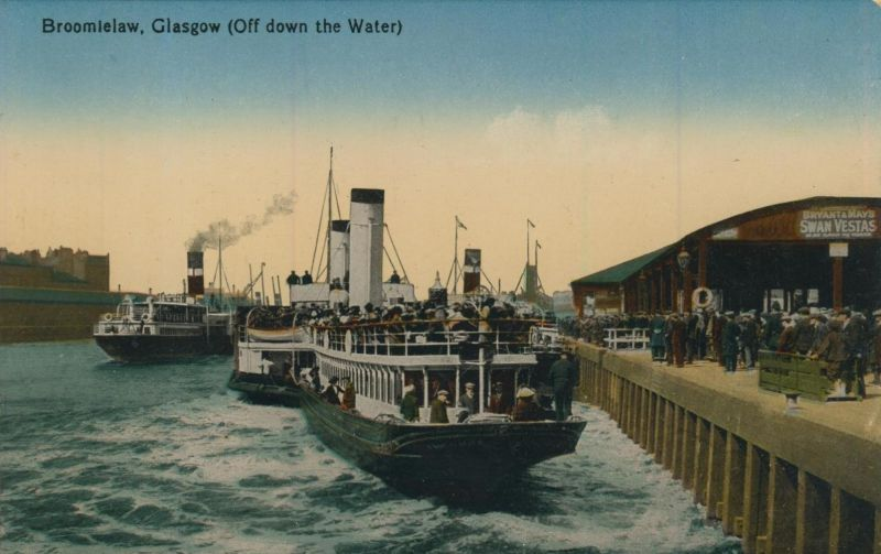 Glasgow v. 1914  Broomielaw mit Schiffe und und Schiff-Firma  (56646)