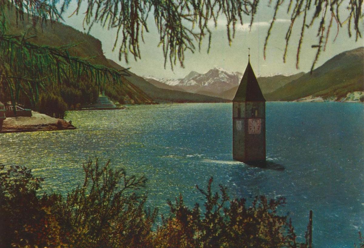 Graun v. 1968  Kirchturm des versunkenen Graun  (56836)