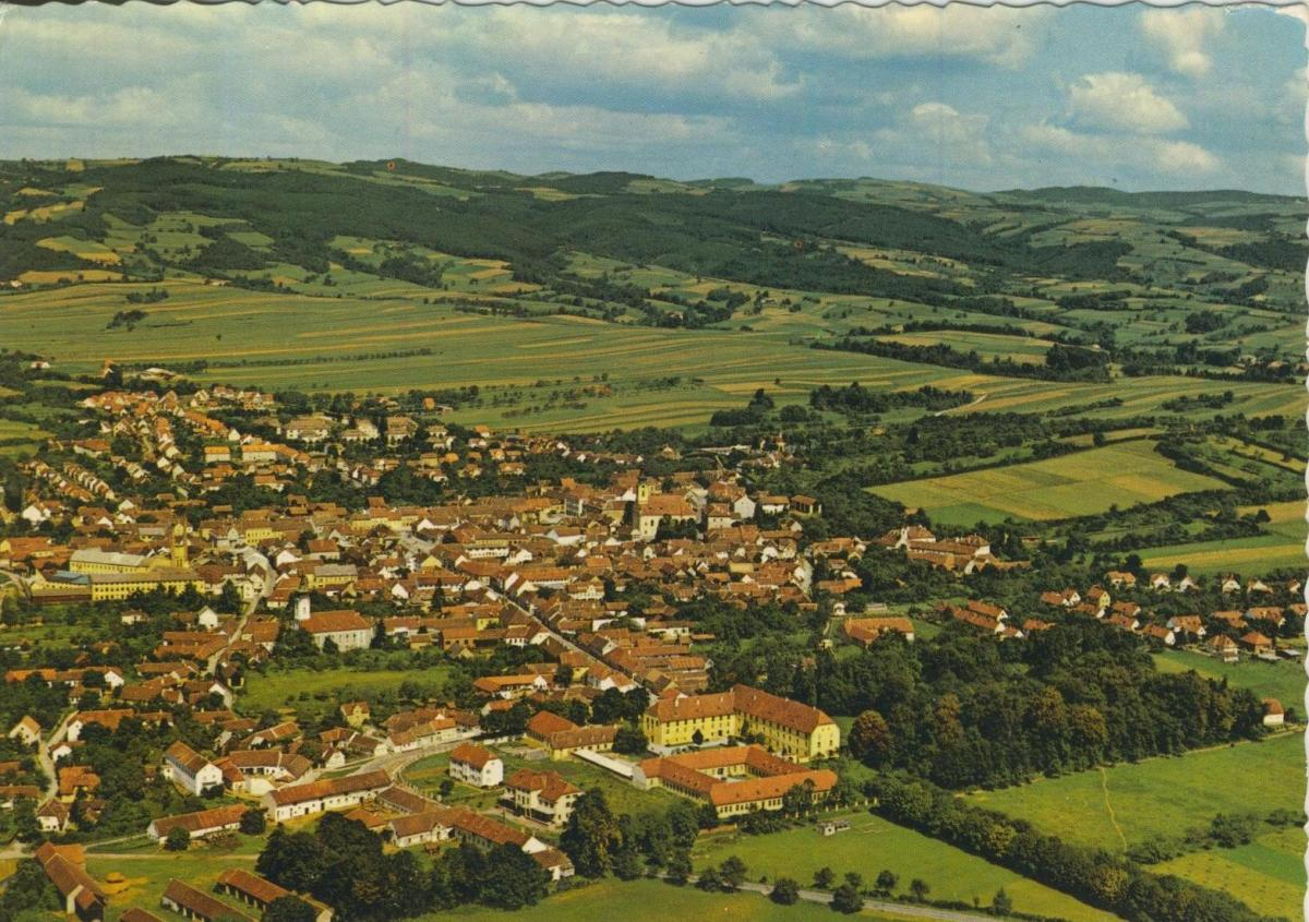 Pinkafeld v. 1974  Luftaufnahme - Dorfansicht  (56843)