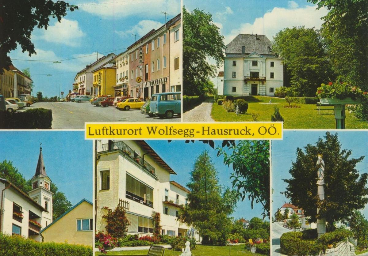 Wolfsegg-Hausruck v. 1972  5 Ansichten u.a.  Ortsmitte mit Bank  (56845)