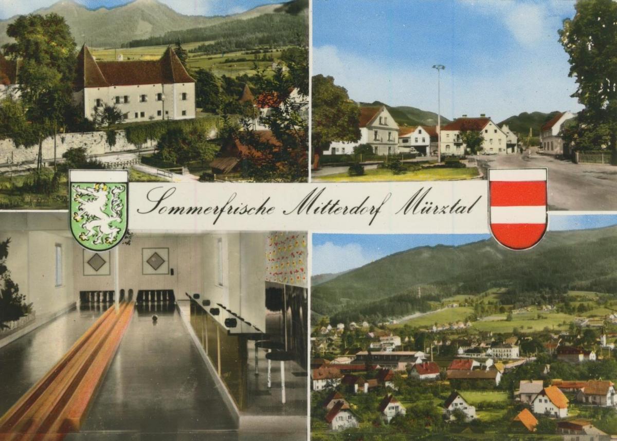Mitterdorf / Münztal v. 1974  4 Ansichten  u.a. Kegelbahn  (56864)