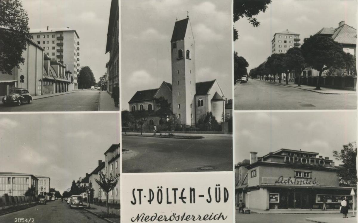 St. Pölten-Süd v. 1962  5 Ansichten u.a. Lichtspielehaus und alte VW Käfer und VW Bully  (56868)