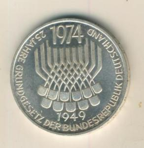 5 Mark Gedenkmünze, 1974 F,