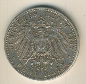 5 Mark Silbermünze, 1907 D, Otto Koenig von Bayern,Silber (21)