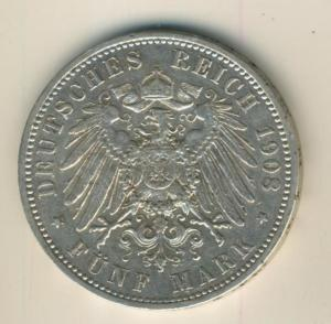 5 Mark Münze Deutscher Kaiser König von Preussen 1908, A, Silber  (22)