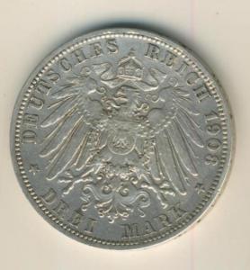 3 Mark 1908,A, Preussen,Deutsches Reich Kaiserreich,Silber (23)
