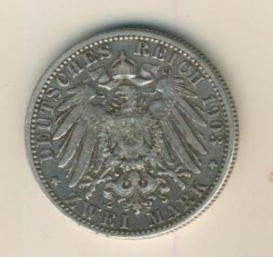 Württemberg 2 Mark 1903, F, Wilhelm II ,Silber (25)