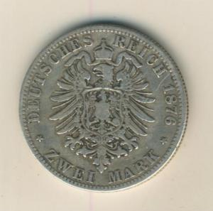 2 Mark,1876,A, König von Preussen ,Silber (26)