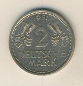 Münze 2 Mark 1951,J, Ähren Trauben   (32)