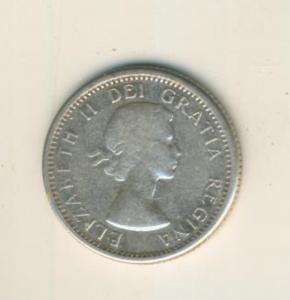 Canada 10 Cents 1964, Silber,  Elisabeth II. --  Segelschiff Canada   (69)