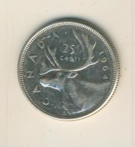 Canada 25 Cents 1964, Silber,  Elisabeth II. --  Segelschiff Canada   (70)