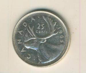 Canada 25 Cents 1965, Silber,  Elisabeth II. --  Segelschiff Canada   (71)