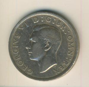 Half Crown König Georg VI GEORGIVS VI D:G:BR:OMN:REX 1949    (72)