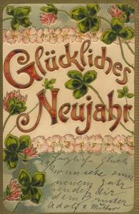 Neujahr v. 1902  Kleeblüten mit Blätter  (57133)