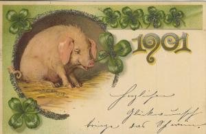 Neujahr v. 1901 Glücksschwein mit Glitzer  (57134)