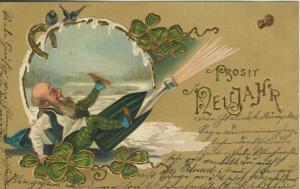Prosit Neujahr v. 1901  Zwerg mit Sekt und Kleeblätter  (57136)